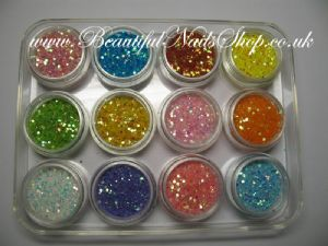12 Super Sparkle Glitter Dust mixed with mini holograms -  Nail Art set 2